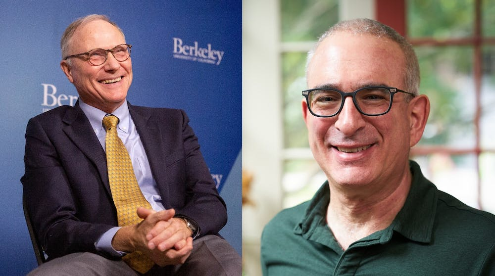 <h5>Left: David Card GS '83 discusses his work and receiving the Nobel Prize during an interview at UC Berkeley on Monday. Right: MIT economist and Nobel laureate Joshua Angrist GS '89.</h5> <h6>Brittany Hosea-Small / UC Berkeley</h6> <h6>Lillie Paquette</h6>