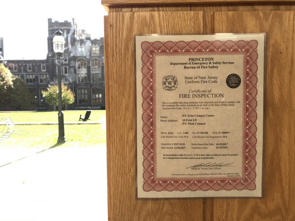 A Certificate of Fire Inspection in Frist Campus Center, which expired in January 2018. Photo Credit: Zachary Shevin / The Daily Princetonian