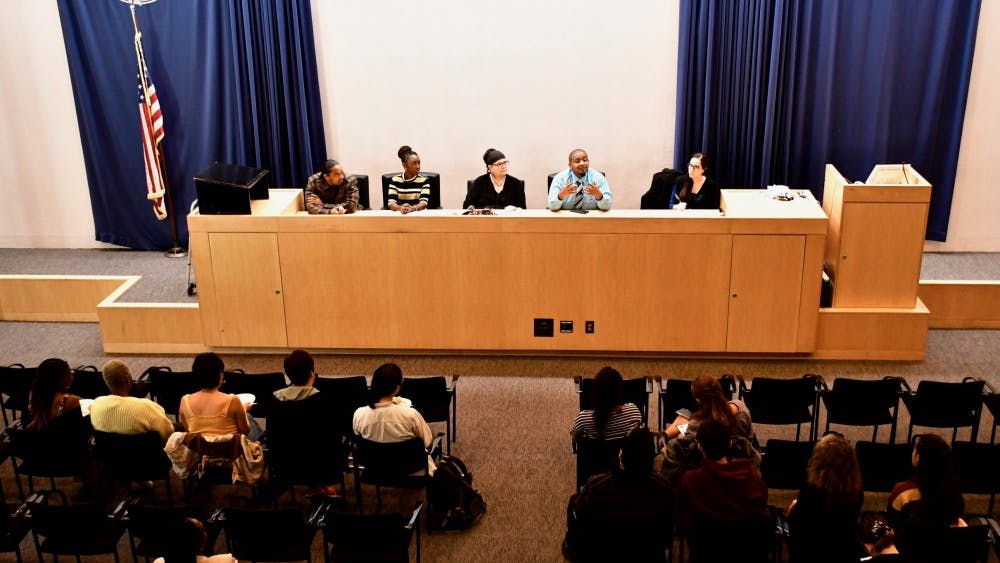 """""""Organizing from the Margins: Speaking Freely on Lived-Experiences, Protest, and Princeton,"""" held in the senate chamber of the Whig-Cliosophic Society. Photo Credit: Jon Ort / The Daily Princetonian"""