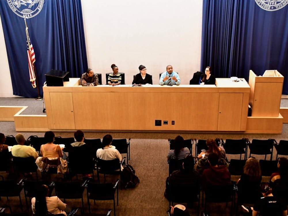 """Organizing from the Margins: Speaking Freely on Lived-Experiences, Protest, and Princeton,"" held in the senate chamber of the Whig-Cliosophic Society. Photo Credit: Jon Ort / The Daily Princetonian"