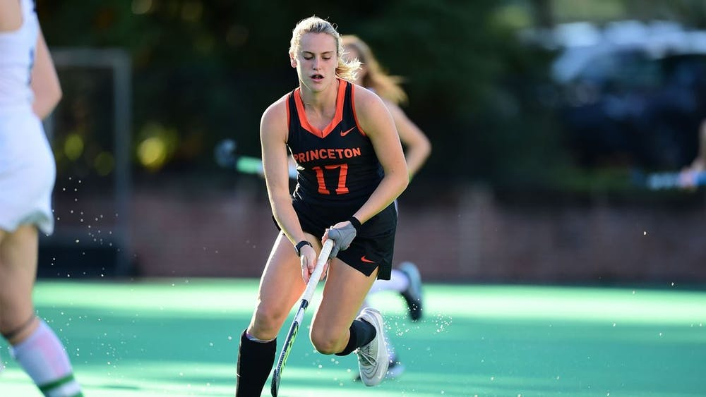 """<h5>Beth Yeager in a game against UConn.</h5> <h6>Ryan Samson / <a href=""""https://goprincetontigers.com/news/2021/10/3/field-hockey-yeager-okkinga-lead-no-17-princeton-past-no-16-uconn-in-ot.aspx"""" target=""""_self"""">GoPrincetonTigers</a></h6>"""