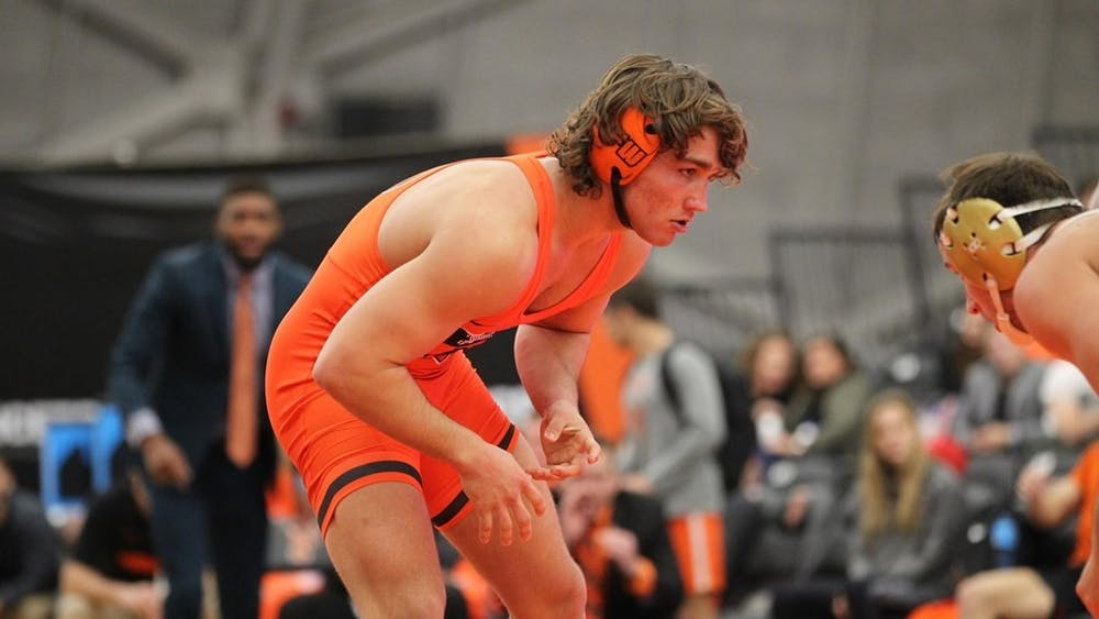 <p>Sophomore 184-pound Travis Stefanik will be crucial in the Tigers' effort to defeat Columbia and Cornell.</p> <p>Photo credit: Beverly Schaefer, GoPrincetonTigers</p>
