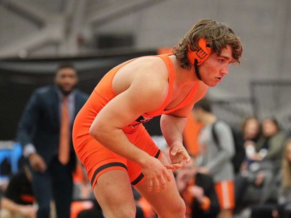 Sophomore 184-pound Travis Stefanik will be crucial in the Tigers' effort to defeat Columbia and Cornell. Photo credit: Beverly Schaefer, GoPrincetonTigers