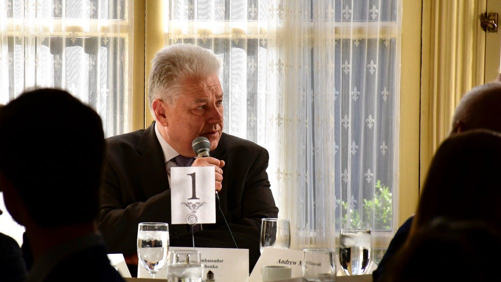 Volodymyr Yelchenko, the Permanent Representative of Ukraine to the United Nations, spoke with students and professors in the Presidential Dining Room of Prospect House. Photo Credit: Jon Ort / The Daily Princetonian