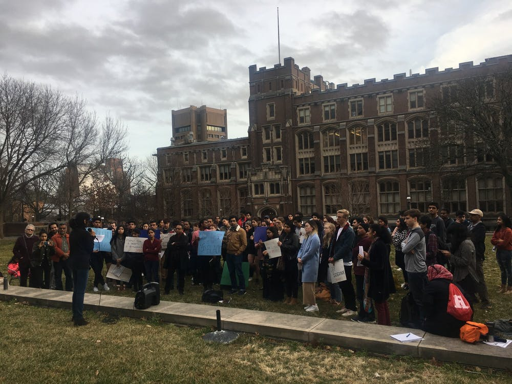 Protestors gather on Frist South Lawn on Saturday for the teach-in. Photo Credit: Marie-Rose Sheinerman / The Daily Princetonian