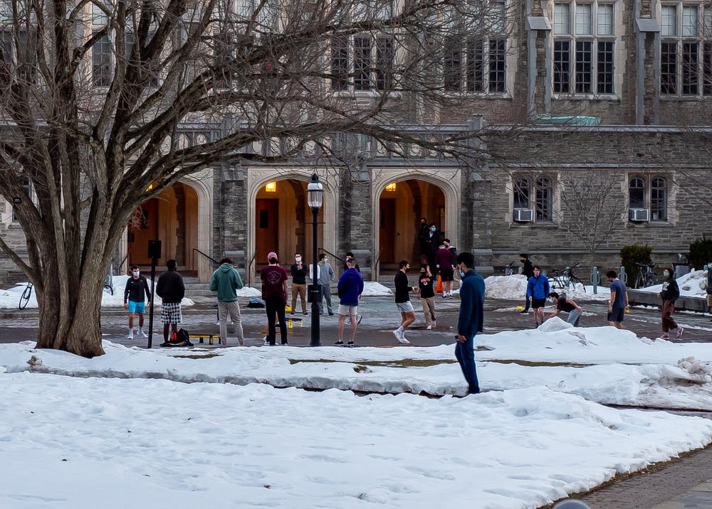 <h5>Students enjoy Wednesday's warmer weather with games of Spikeball in front of Dillon Gym.&nbsp;</h5> <h6>Candace Do / The Daily Princetonian</h6>