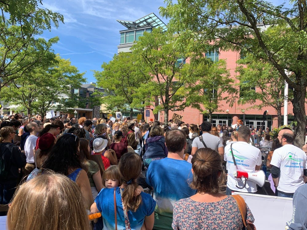 Hundreds gathered in front of the Princeton Public Library for the global Climate Strike in Sept. 2019. Rose Gilbert / The Daily Princetonian