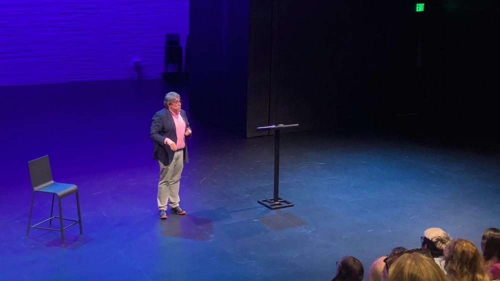Professor Brian Herrera speaking at Wallace Theater on Monday, Sept. 24.