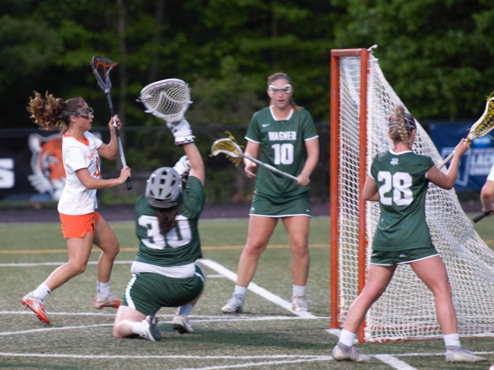 Tess D'Orsi scores one of her seven goals against Wagner. Photo Credit: Jack Graham / The Daily Princetonian