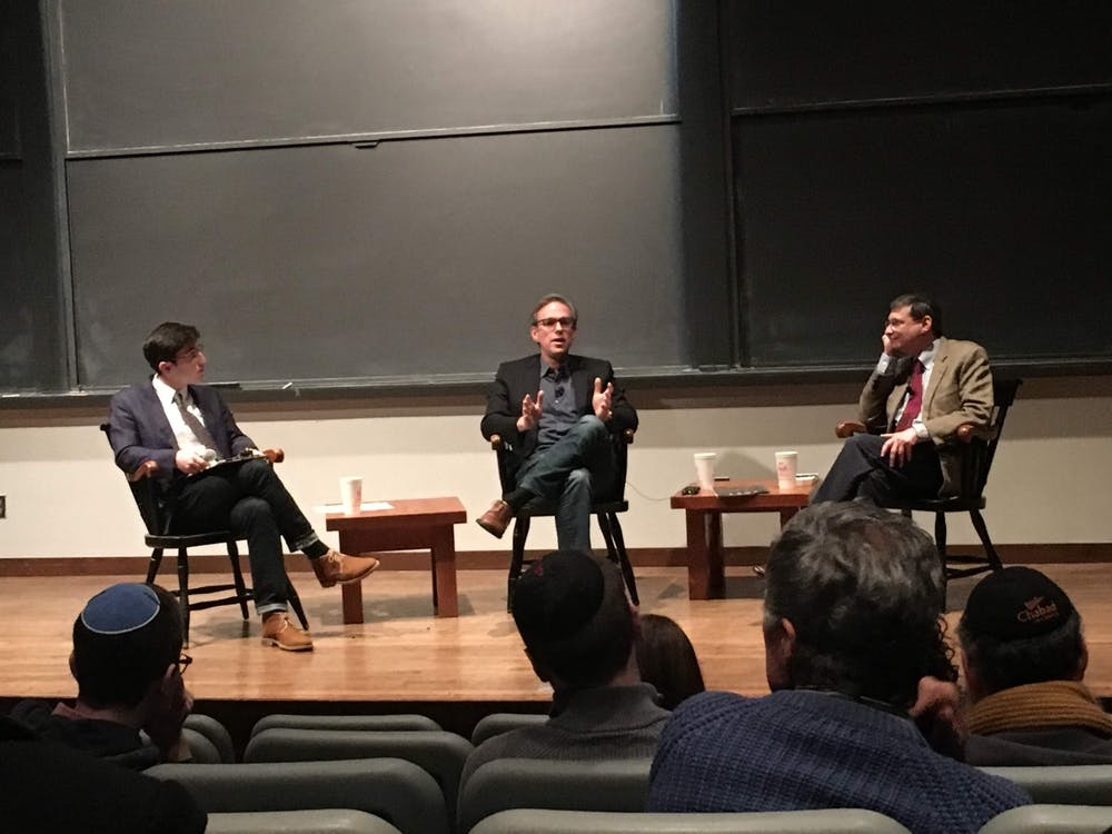 <p>&nbsp;Bret Stephens and Yoram Hazony '86&nbsp;</p> <h6>Photo Credit: Marie-Rose Sheinerman / The Daily Princetonian</h6>