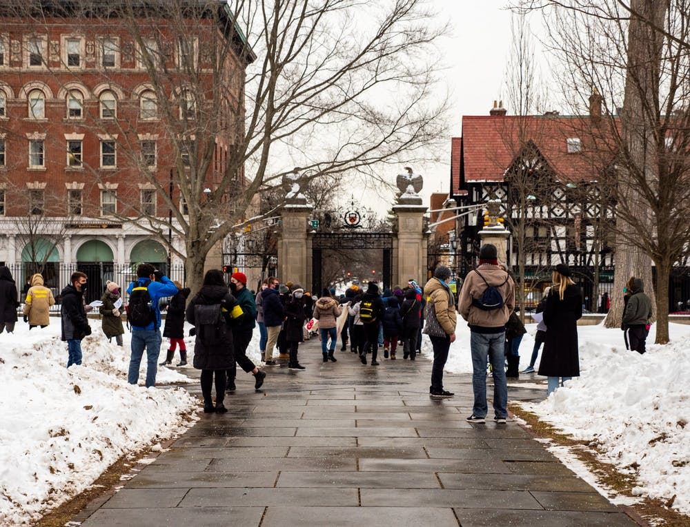 <h5>A protest outside FitzRandolph Gate on Saturday, Feb. 13 called for Princeton University to share its COVID-19 testing resources with residents of the town of Princeton and nearby communities.&nbsp;</h5> <h6>Candace Do / The Daily Princetonian</h6>