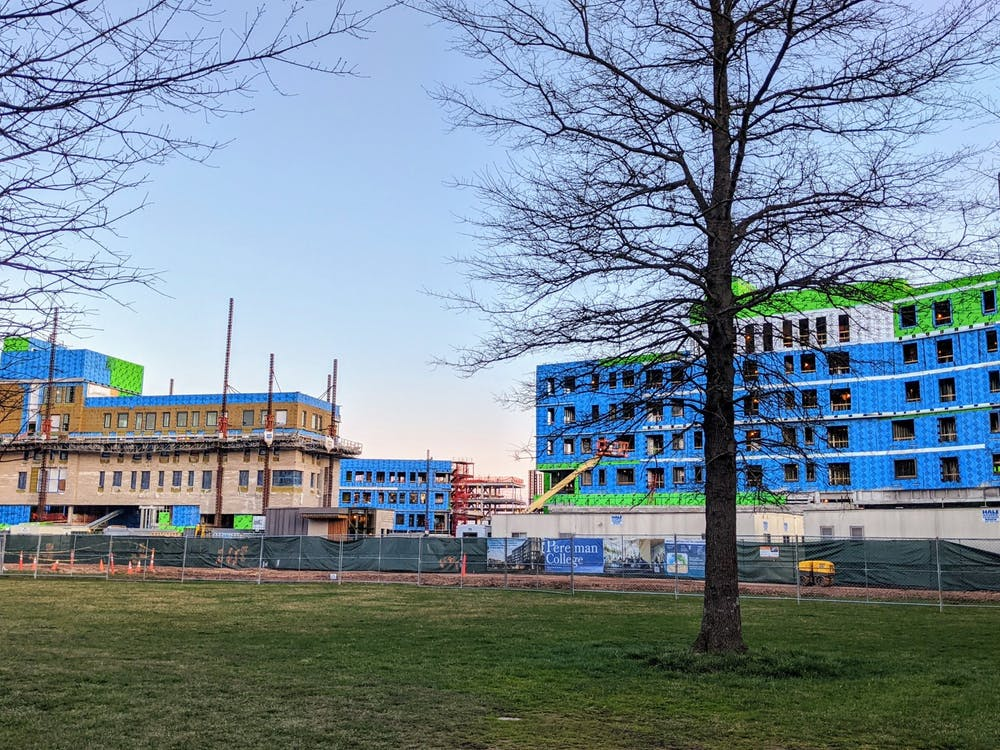 Construction continues on the two new residential colleges next to Poe Field. Candace Do / The Daily Princetonian