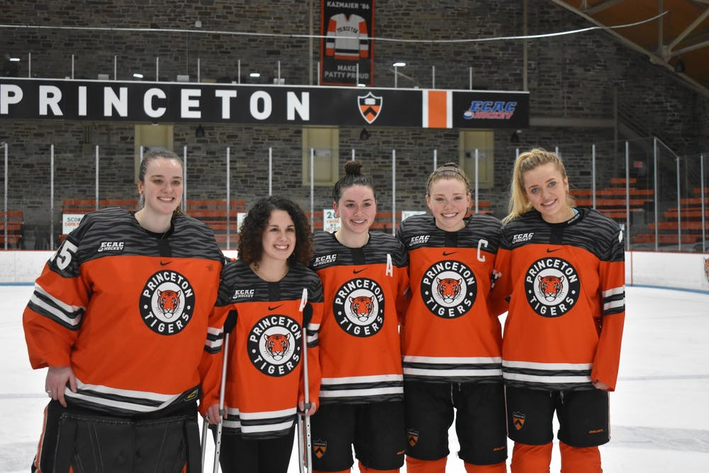 <p>Princeton women's hockey seniors. From left to right: Stephanie Neatby, Mackenzie Ebel, Carly Bullock, Claire Thompson, and Sylvie Wallin.&nbsp;</p> <h6>Photo Credit: Owen Tedford / Daily Princetonian</h6>