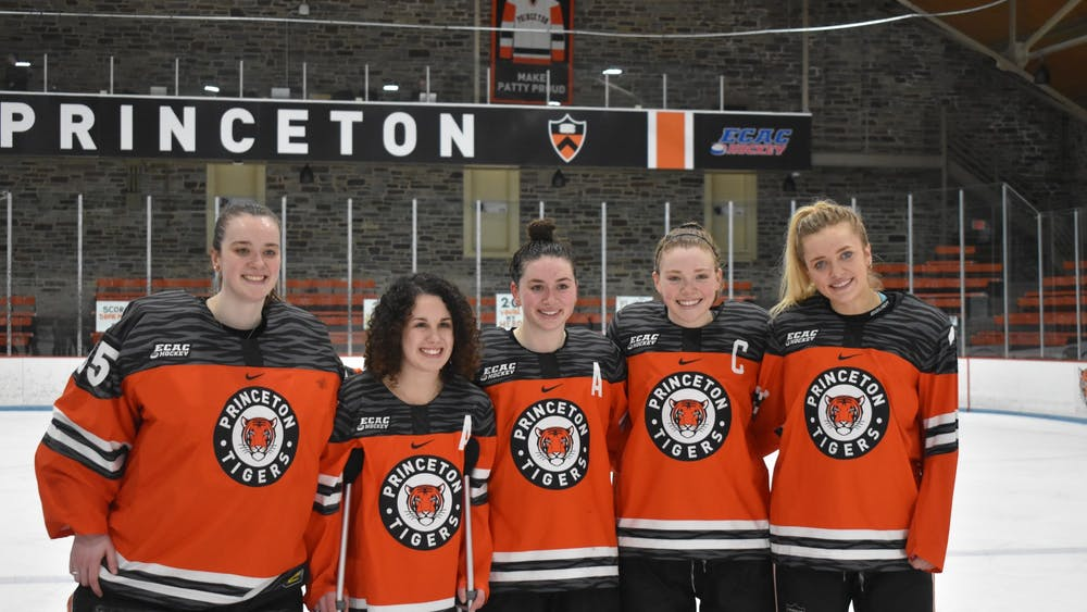 Princeton women's hockey seniors. From left to right: Stephanie Neatby, Mackenzie Ebel, Carly Bullock, Claire Thompson, and Sylvie Wallin.  Photo Credit: Owen Tedford / Daily Princetonian