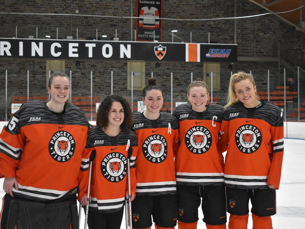 Princeton women's hockey seniors. From left to right: Stephanie Neatby, Mackenzie Ebel, Carly Bullock, Claire Thompson, and Sylvie Wallin. Photo Credit: Owen Tedford / Daily Princetonian
