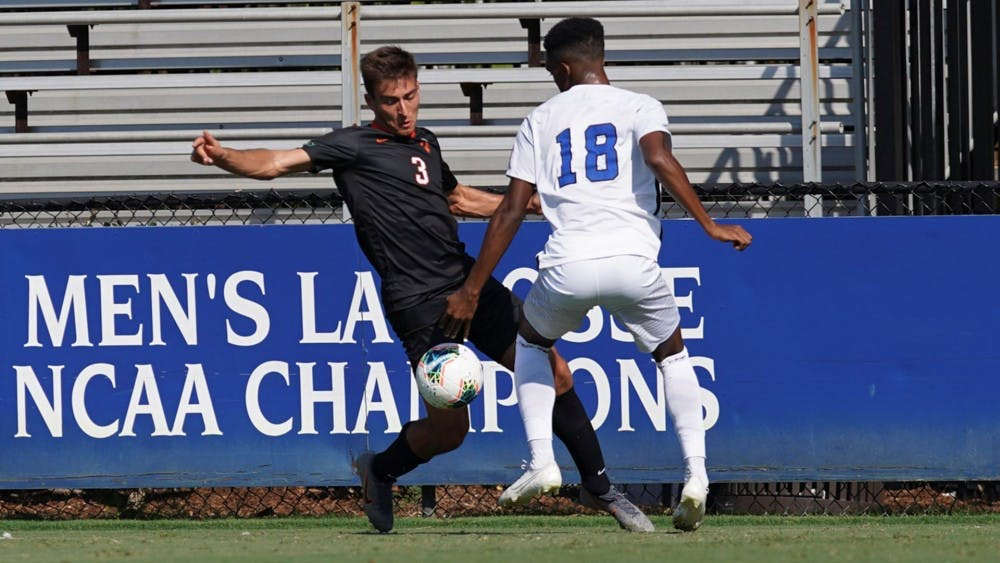 Caption: First-year Daniel Diaz Bonilla against Duke on September 6, 2019.  Credit: Chris Baird, GoPrincetonTigers