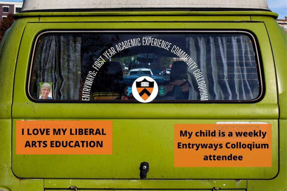 """<p>Several hand-made bumper stickers sent from Dean of the College Jill Dolan to families of students who regularly attend Entryways programming</p> <h6>StockSnap / <a href=""""https://pixabay.com/photos/neon-green-car-vehicle-back-2582904/"""" target=""""_self"""">Pixabay</a> and Zachary Shevin / The Daily Princetonian</h6>"""
