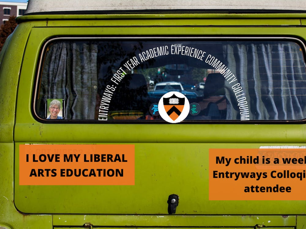 Several hand-made bumper stickers sent from Dean of the College Jill Dolan to families of students who regularly attend Entryways programming StockSnap / Pixabay and Zachary Shevin / The Daily Princetonian