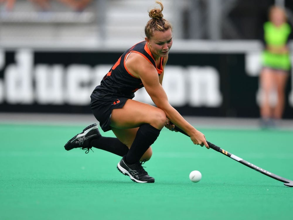 Sophomore forward Grace Schulze scored a goal during the second period. Courtesy of Greg Carrccio | GoPrincetonTigers.com