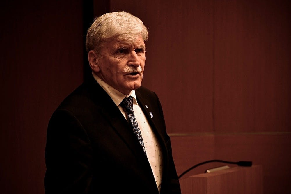 <p>Roméo Dallaire spoke with students in Robertson Hall.</p> <h6>Photo Credit: Jon Ort / The Daily Princetonian</h6>