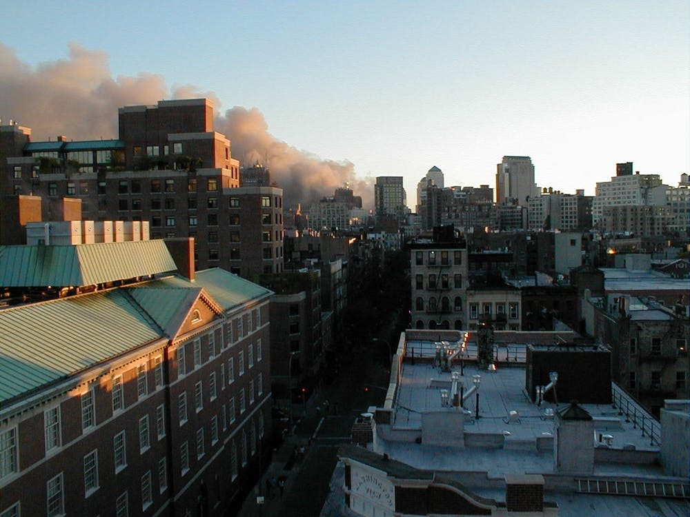 <h5>A view of the New York City skyline shortly after the Towers fell.</h5> <h6>Courtesy of Susan Wheeler</h6>