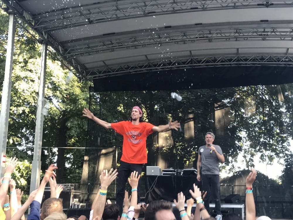 3OH!3 preforms in front of gathered students at Quadrangle Club. Photo Credit: Zack Shevin / The Daily Princetonian