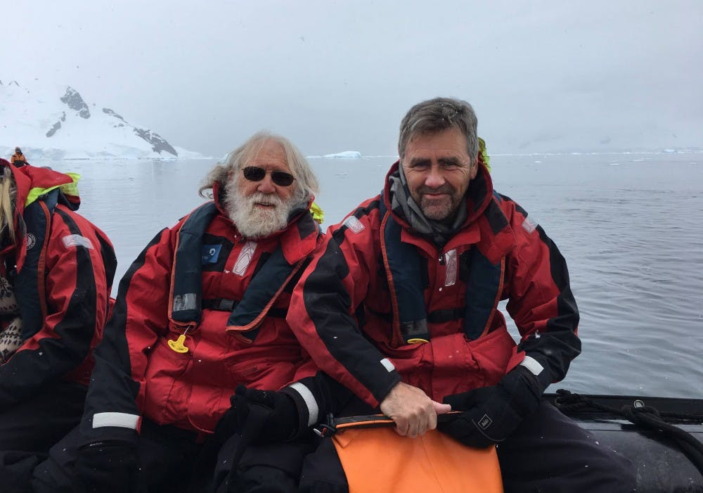 <p>Charlie Gross (left) and Tom Albright GS '83 traveled all over the world together, including visiting Antarctica in December 2016.</p> <p>Photo courtesy of Tom Albright via Office of Communications</p>