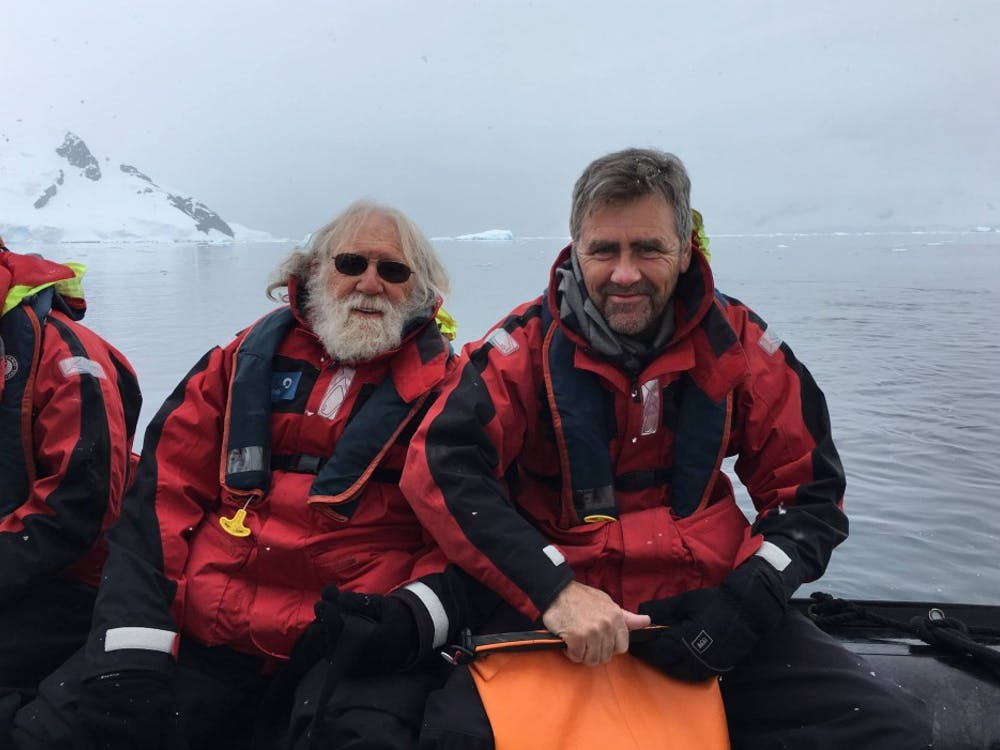 Charlie Gross (left) and Tom Albright GS '83 traveled all over the world together, including visiting Antarctica in December 2016. Photo courtesy of Tom Albright via Office of Communications
