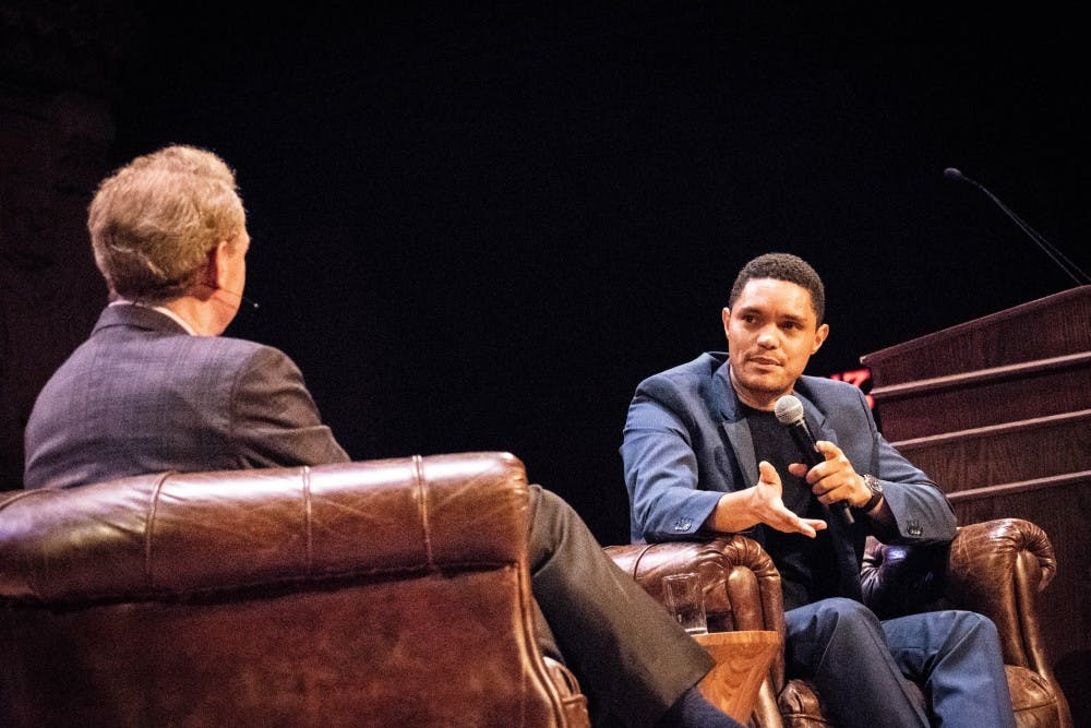 <p>Trevor Noah and Brad Smith '81 converse on the stage of Richardson Auditorium.</p> <h6>Photo Credit: Kevin Feng / The Daily Princetonian</h6>