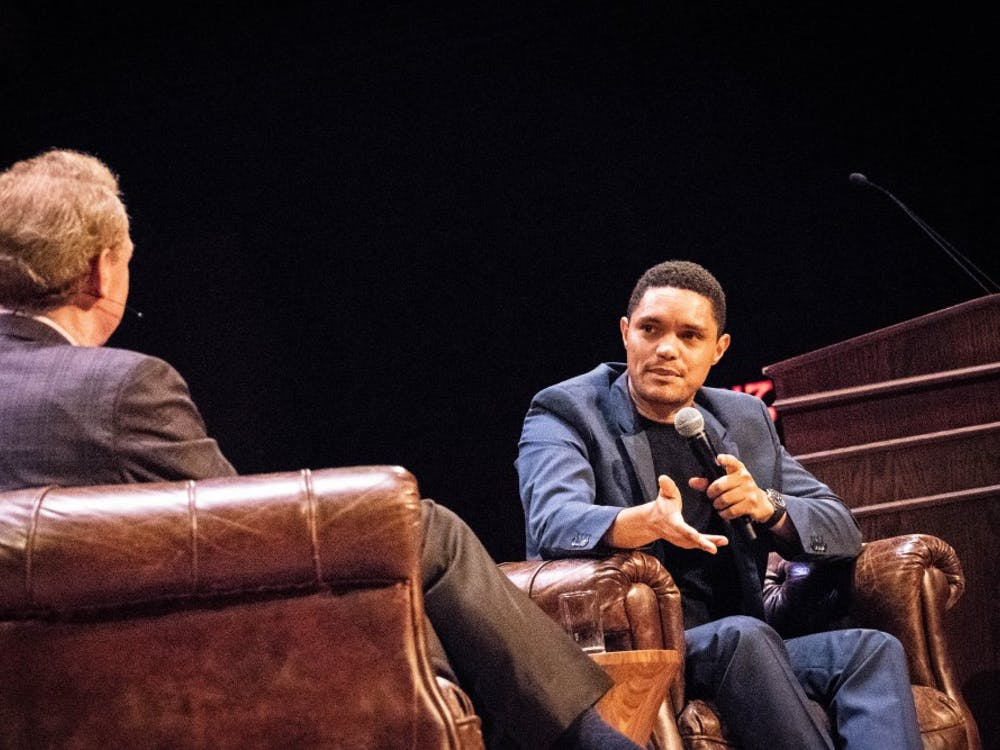 Trevor Noah and Brad Smith '81 converse on the stage of Richardson Auditorium. Photo Credit: Kevin Feng / The Daily Princetonian
