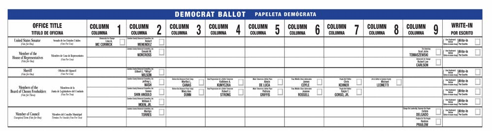 <h5>Camden County, NJ, 2018 Democratic Primary Ballot, one that uses the party line.</h5> <h6>Courtesy of Joe Marchica&nbsp;</h6>