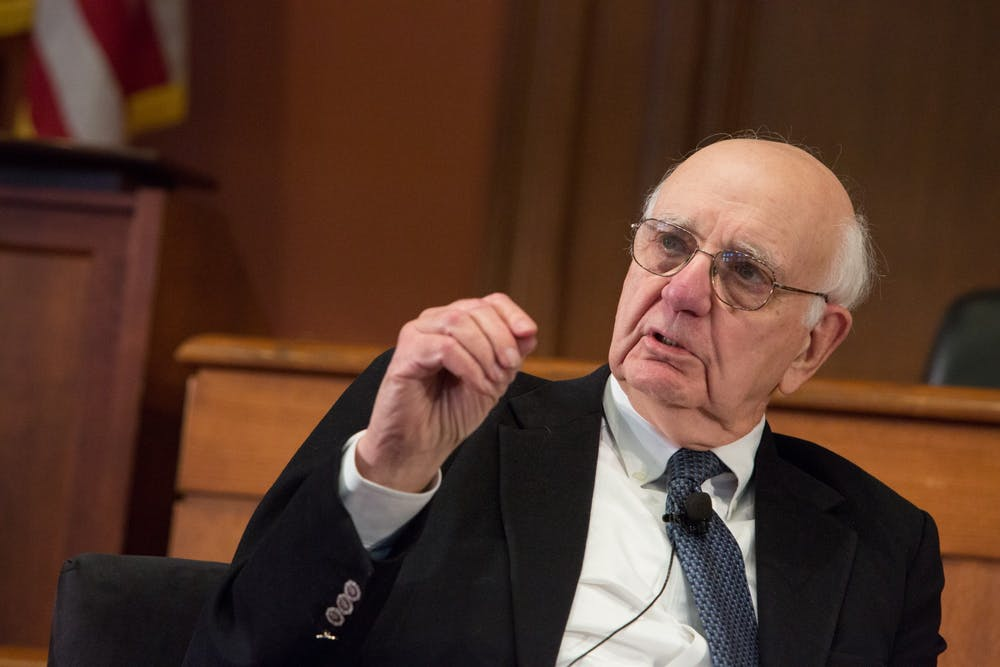 "<p>Alumnus and Frederick H. Schultz '51 Professor of International Economic Policy, Emeritus Paul A. Volcker '49 has died at the age of 92.</p> <h6>Photo Credit: Edmond J. Safra Center for Ethics / <a href=""https://www.flickr.com/photos/harvardethics/6895896562"" target=""_self"">Flickr</a></h6>"