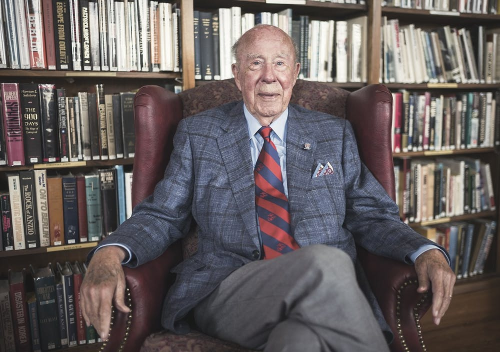 "<h6>""<strong>George Shultz in 2017 at the Marines Memorial Club in San Francisco</strong>"" by Christopher Michel / <a href=""https://www.flickr.com/photos/cmichel67/50920278827"" target=""_self"">CC BY-SA</a></h6>"
