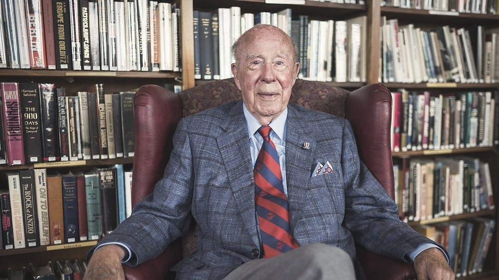 """George Shultz in 2017 at the Marines Memorial Club in San Francisco"" by Christopher Michel / CC BY-SA"