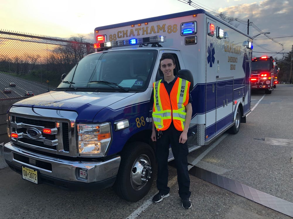 Brad Rindos '23 volunteers his time as an EMT and ambulance driver. Courtesy of Brad Rindos '23