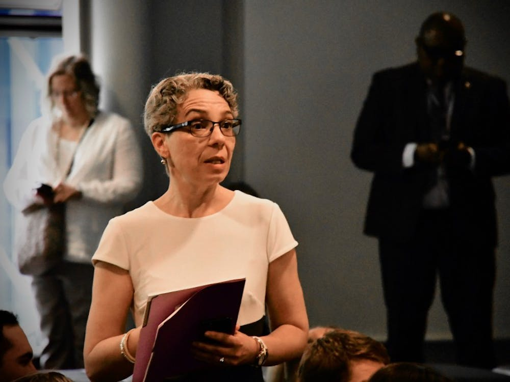 Vice Provost for Institutional Equity and Diversity Michele Minter responds to a question during a CPUC meeting in May 2019. Photo Credit: Jon Ort / The Daily Princetonian