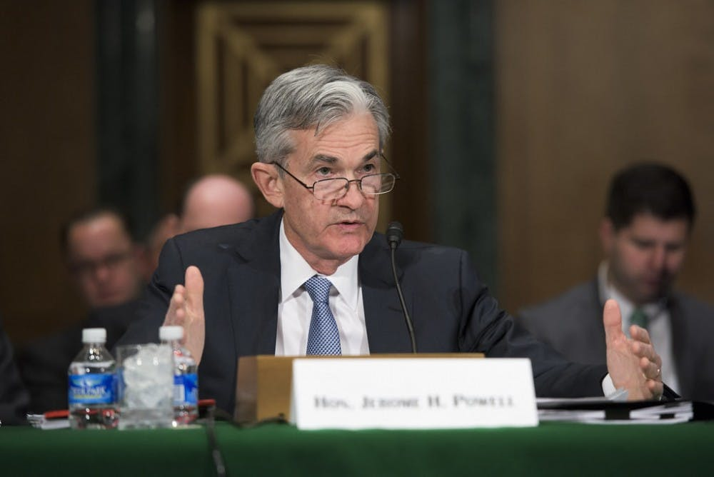 "<h6>FED Chairman Jerome Powell '75</h6> <h6>Photo Credit: Federalreserve / <a href=""https://www.flickr.com/photos/federalreserve/25824732524"" target=""_self"">Flickr</a></h6>"