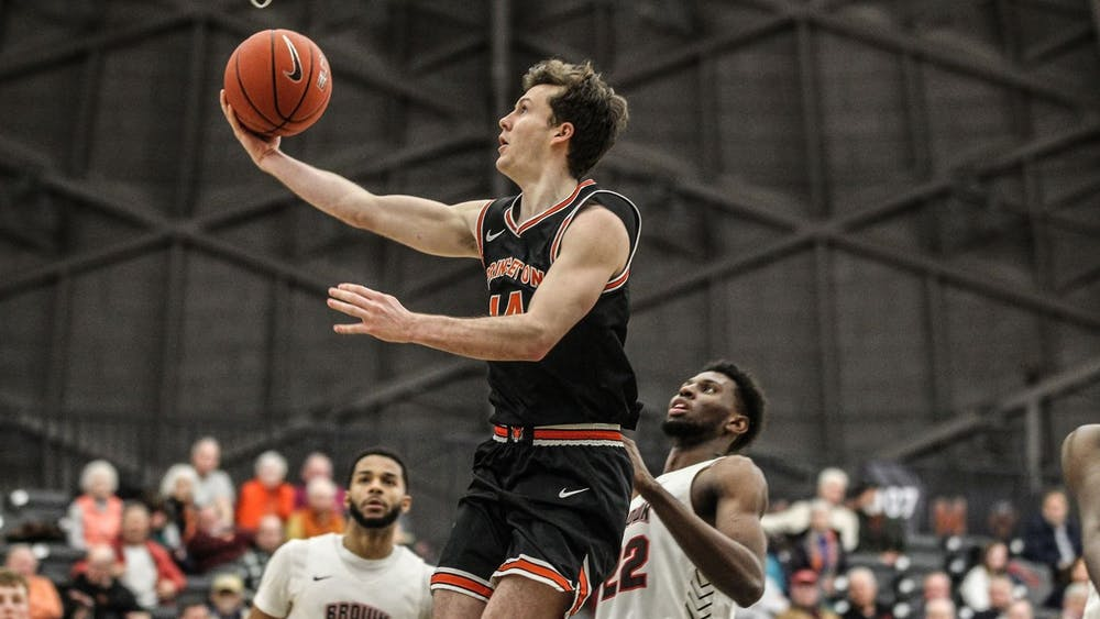 Photo courtesy of Beverly Schaefer / GoPrincetonTigers.com Wright goes for a layup in Princeton's game against Brown.