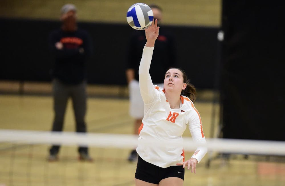 <h5>Avery Luoma goes in for the kill.&nbsp;</h5> <h6>Courtesy of GoPrincetonTigers.com</h6>