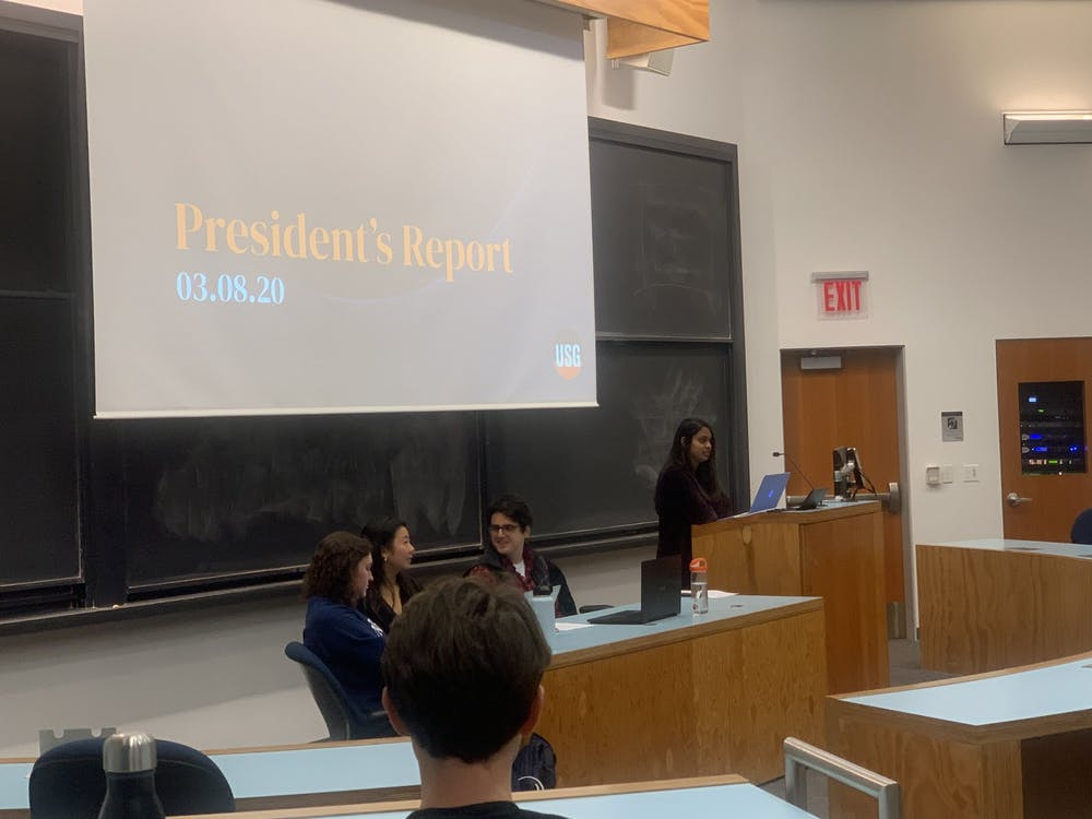 <p>USG President Chitra Parikh '21 presents at the March 8 meeting.</p> <h6>Photo Credit: Caitlin Limestahl / The Daily Princetonian&nbsp;</h6>