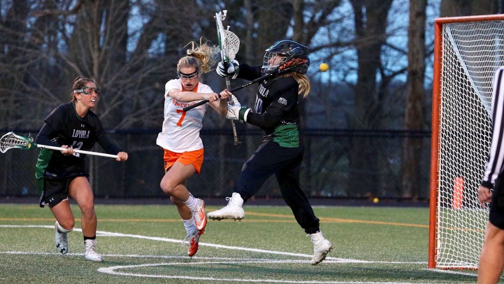 Sophomore attacker Kyla Sears makes quick work of Loyola's goalie.  Photo credit: Shelley M. Szwast / GoPrincetonTigers