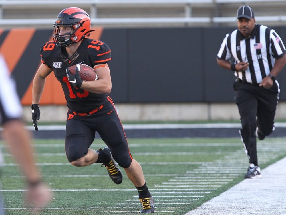 Andrew Griffin had nine receptions for 200 yards and four touchdowns against Bucknell. Photo Credit: Beverly Schaefer / goprincetontigers.com