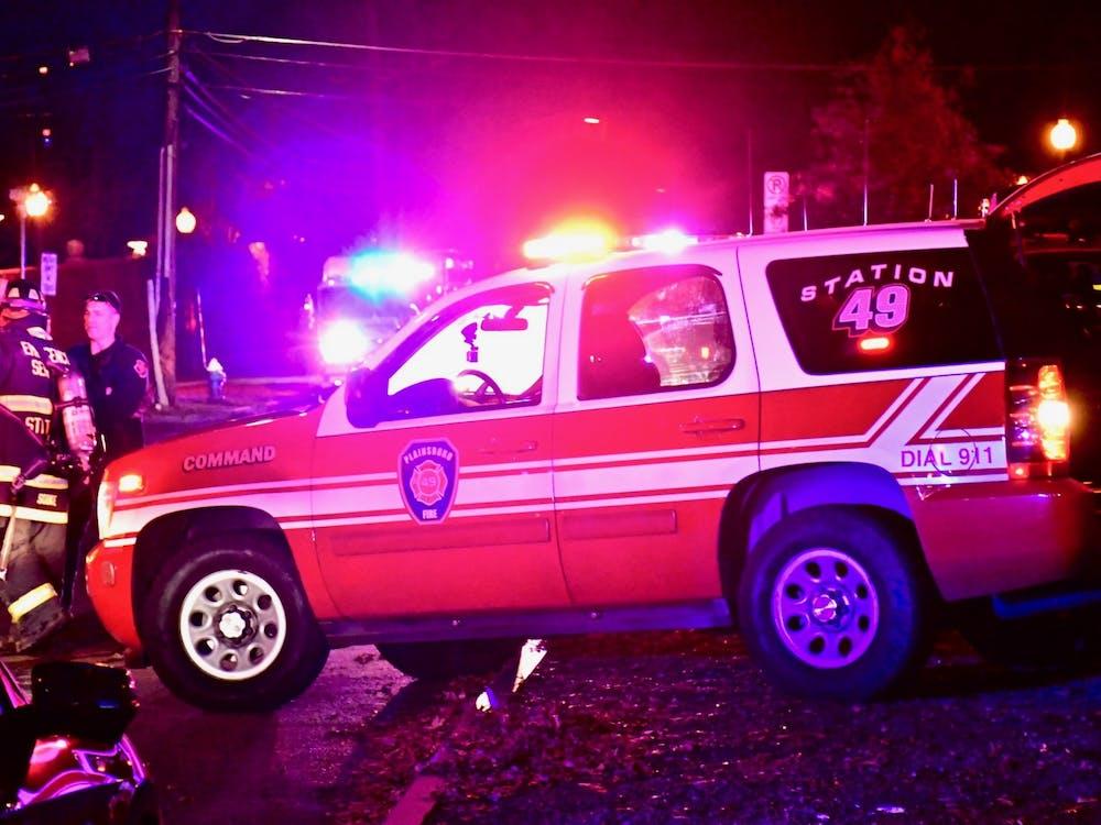 Emergency vehicles line Prospect Avenue. Photo Credit: Jon Ort / The Daily Princetonian