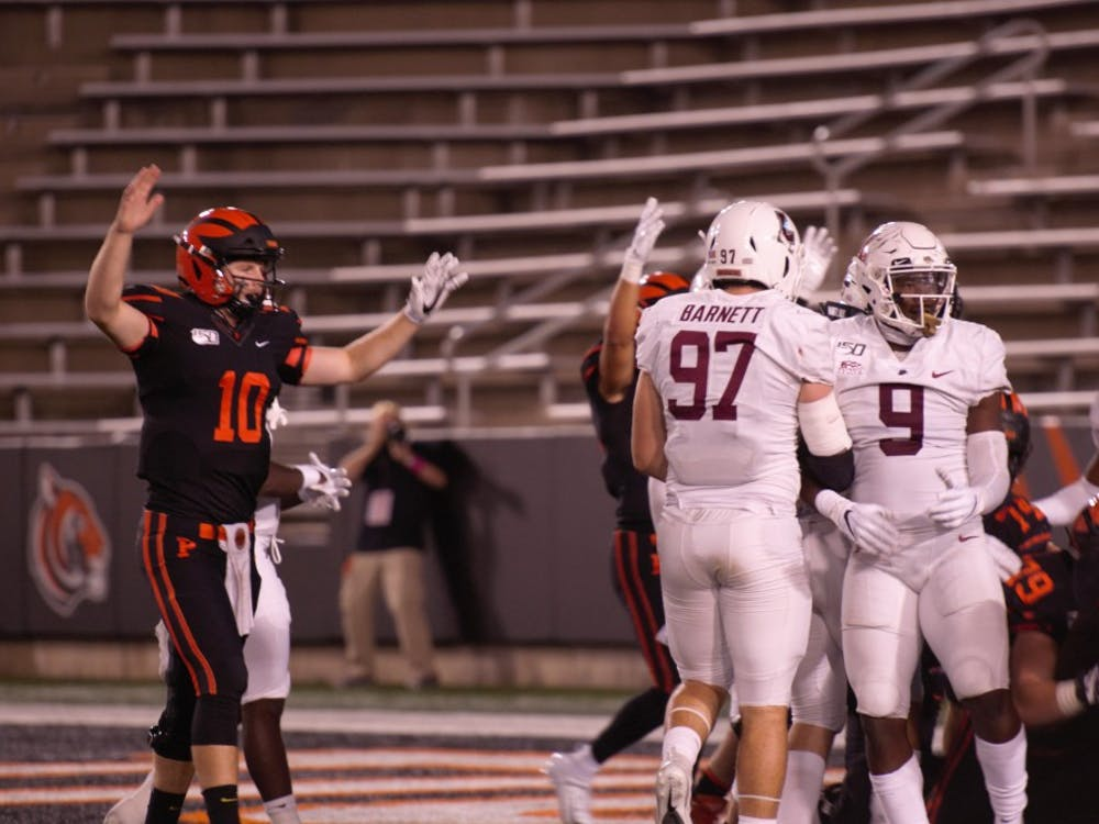 Princeton celebrates after Collin Eaddy's second touchdown of the night against Lafayette. Photo Credit: Jack Graham / The Daily Princetonian