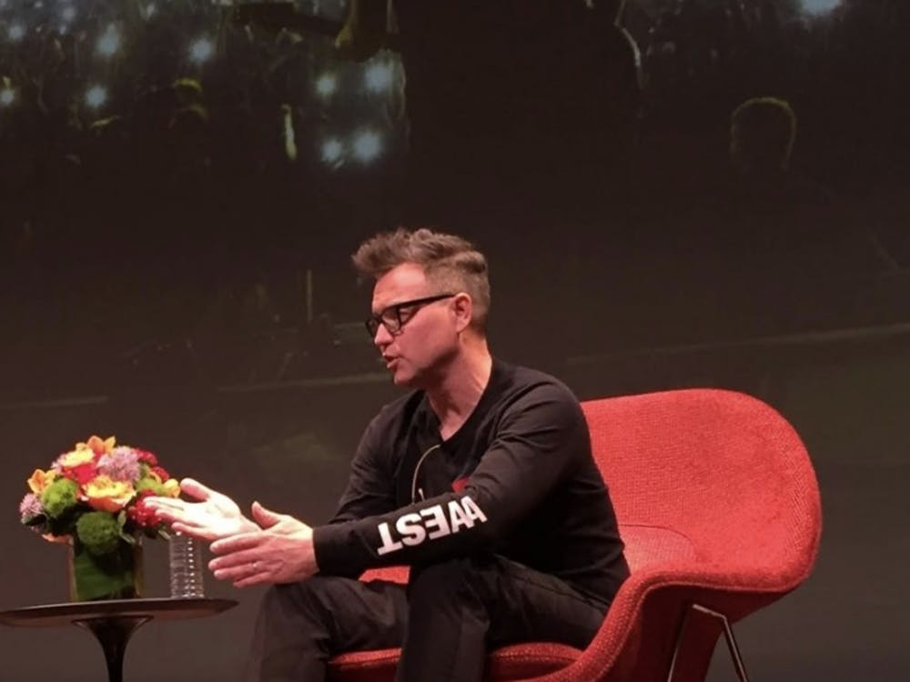 Blink-182's Mark Hoppus speaks with music professor Steven Mackey about the evolution of the band and their music. Emily Spalding '21 / The Daily Princetonian