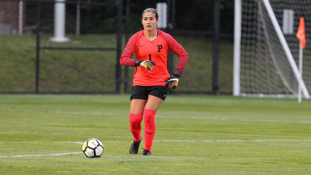 Natalie Grossi allowed three goals but made ten saves against Maryland. Photo Credit: Beverly Schaefer / goprincetontigers.com