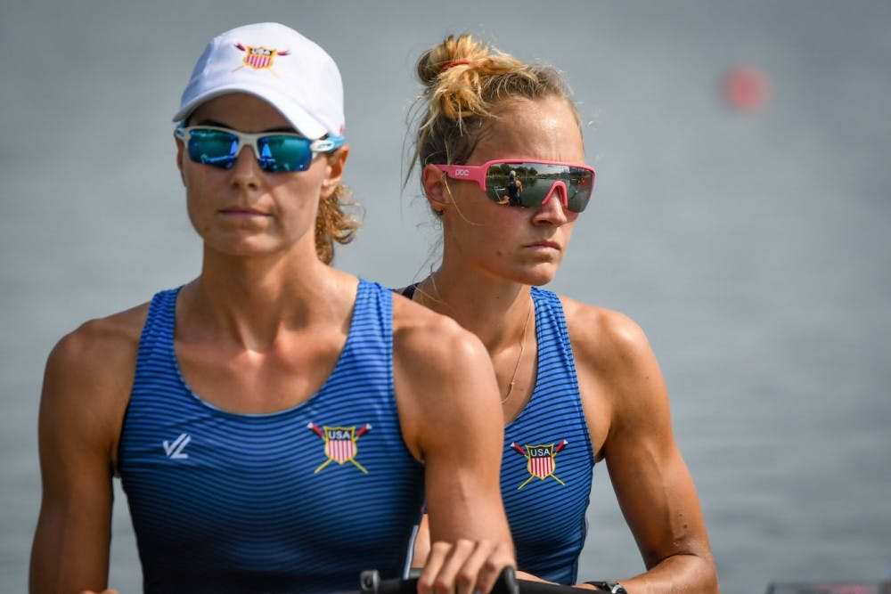 <p>World rowing champion Margaret Bertasi '14 (right).</p> <h6>Photo Courtesy of US Rowing&nbsp;</h6>