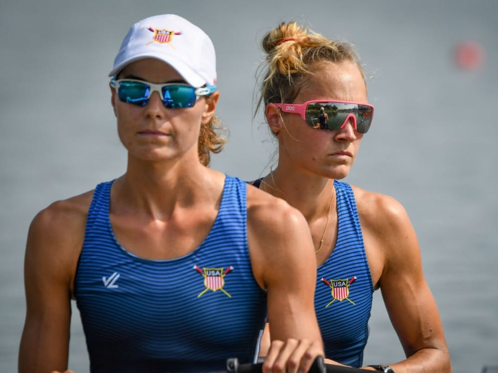 World rowing champion Margaret Bertasi '14 (right). Photo Courtesy of US Rowing