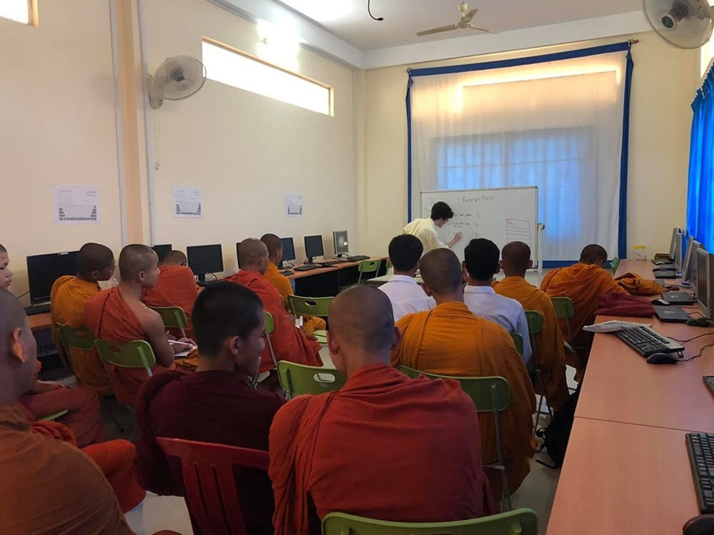One of the first classes Ben taught at Preah Sihanouk Raja Buddhist University, where he introduced how to write a paragraph. Photo Credit: Benjamin Ball / The Daily Princetonian