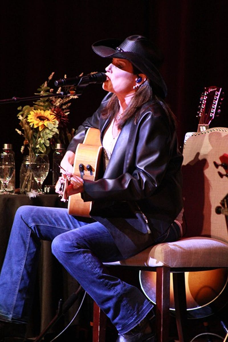 "Terri Clark (above) and the other two opened the concert with Nanci Griffith's ""Outbound Plane."" Clark sold 5 million albums in her career."